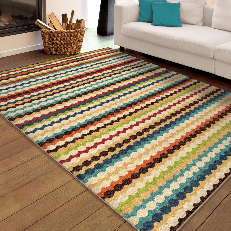 Orian Rugs Indoor/Outdoor Nik Nak Multi-Colored Area Rug or Runner