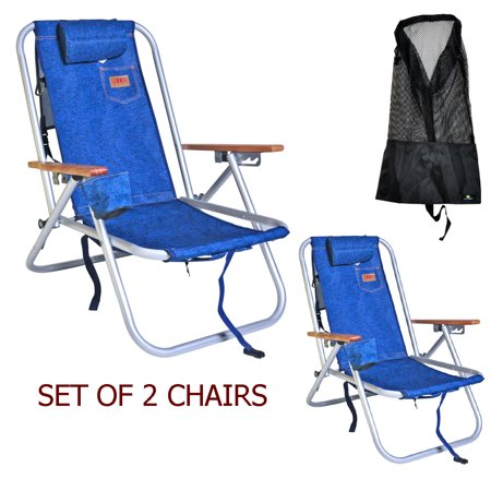 Deluxe Aluminum Rio Backpack Beach Chair Camping W Storage Pouch Tall Mesh Drawstring Bag Set Of 2 Chairs