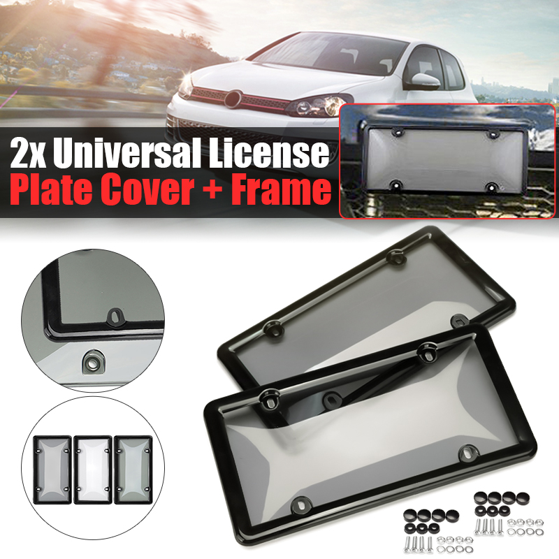 2 x Front//Rear Silver Carbon Fiber Style Look Wrap License Plate Frames Covers