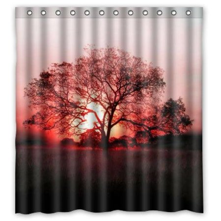 HelloDecor Tree Sunsethower Shower Curtain Polyester Fabric Bathroom Decorative Size 66x72 Inches