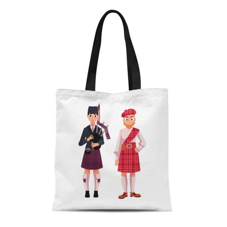 ASHLEIGH Canvas Tote Bag Two Scottish Men in National Tartan Beret and Kilt Durable Reusable Shopping Shoulder Grocery Bag