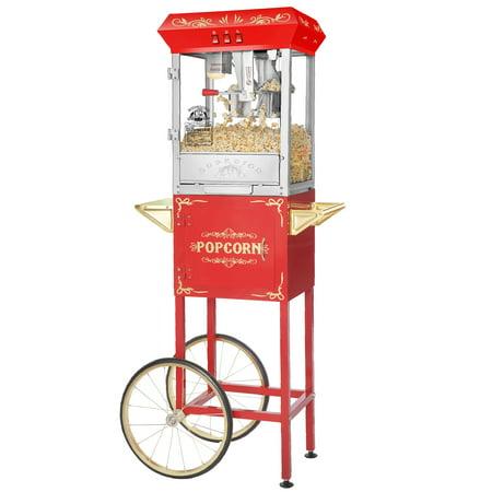 Superior Popcorn 8 Ounce Classic Carnival Popcorn Popper Machine & Cart,  8 oz - Red Popcorn