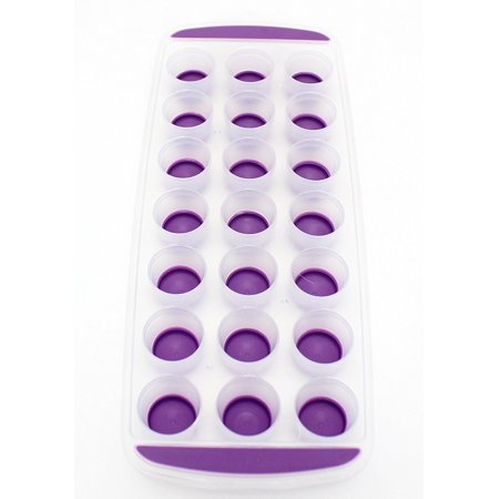 Pop Out Ice Cube Tray - BPA Free Dishwasher Safe Portable Novelty Flexible Silicone Ice Cube Maker - Just Press to Push Half Round Ice Cubes Into Drinks, Glasses. Color Purple by Perfect Life Ideas
