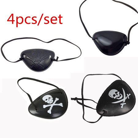 Black Plastic Pirate Captain Eye Patch Crossbone Skull Morale Eye Mask for Halloween Pirate Costume Kids Adults Party Favors, 4PCS Pack (Ideas For Adult Halloween Parties)