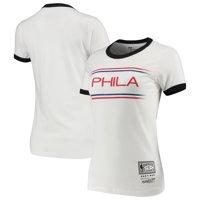 Philadelphia 76ers Mitchell & Ness Women's Ringer T-Shirt - White