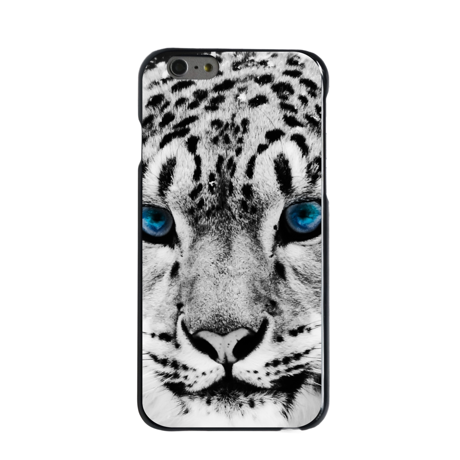 "CUSTOM Black Hard Plastic Snap-On Case for Apple iPhone 6 PLUS / 6S PLUS (5.5"" Screen) - Snow Leopard Blue Eyes"