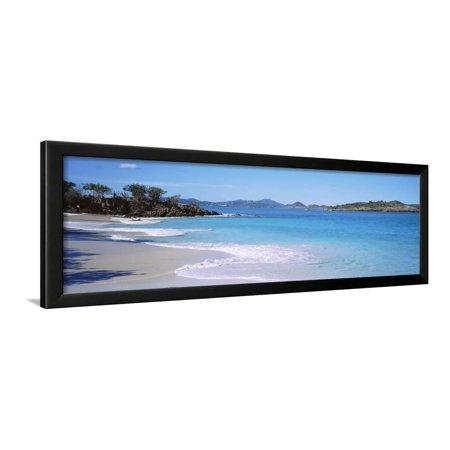 Waves Crashing on the Beach, Turtle Bay, Caneel Bay, St. John, US Virgin Islands Framed Print Wall Art