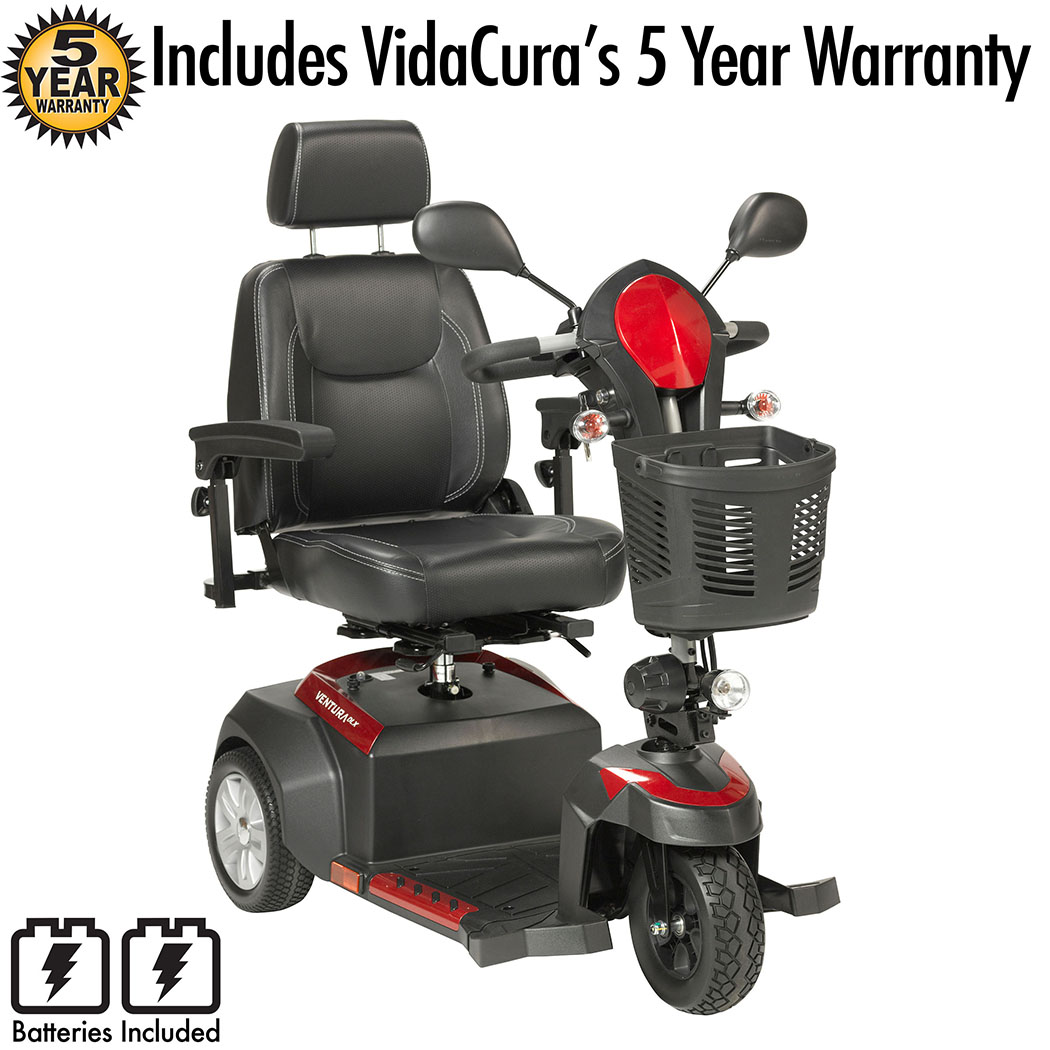 """Drive Medical Ventura DLX 3 Wheel Travel Scooter Including Vidacura's 5 Year Extended Warranty (20"""" Wide Seat)"""