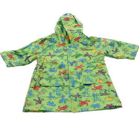 Boys Cute Green Frog Print Unlined Raincoat