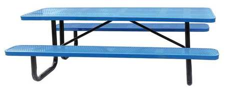 """4HUW2 96"""" W x62"""" D Picnic Table, Blue by ZORO SELECT"""