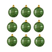 "9ct Green Mirrored Glass Disco Ball Christmas Ornaments 2.5"" (60mm)"