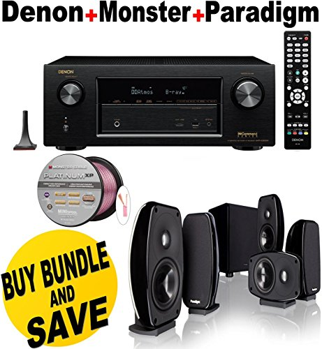 Denon AVRX3200W 7.2 Channel Full 4K Ultra HD A V Receiver with Bluetooth and Wi-Fi + Paradigm Cinema 100 CT + Monster - by Electronics Expo