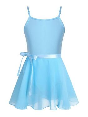 Girls Adjustable Shoulder Ballet Dance Gymnastics Leotard with Chiffon Wrap Skirt