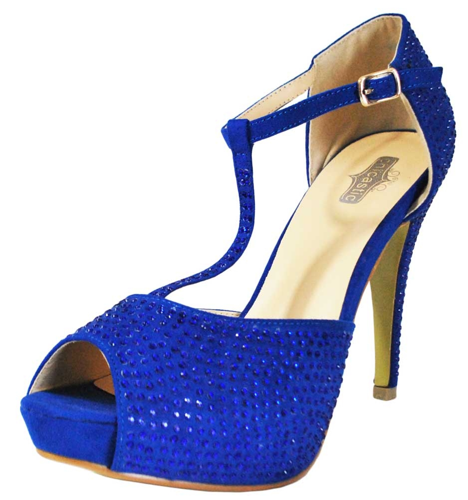 "Chicastic Rhinestone Pumps T- Strap Peep Toe Women's 4.5"" High Heel Platform Bridal, Party, Prom, Wedding Shoes Royal Blue 8.5"