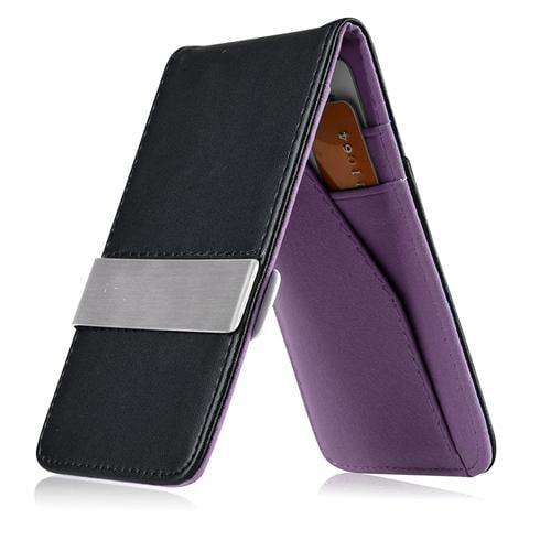 Zodaca Black/Purple Mens Faux Genuine Leather Silver Money Clip Wallets ID Credit Card Holder (Gift Idea)