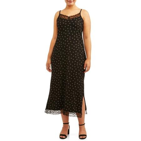 POOF Juniors' Plus Size Maxi Lace Trim Slip Dress