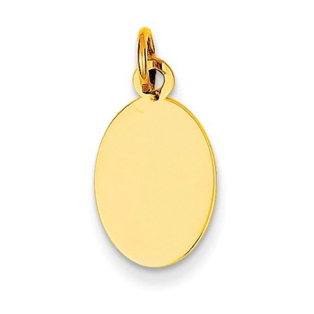 14k Yellow Gold Plain 0.027 Gauge Engravable Oval Disc Charm (0.8in long x 0.4in - 0.5 Disc Charm