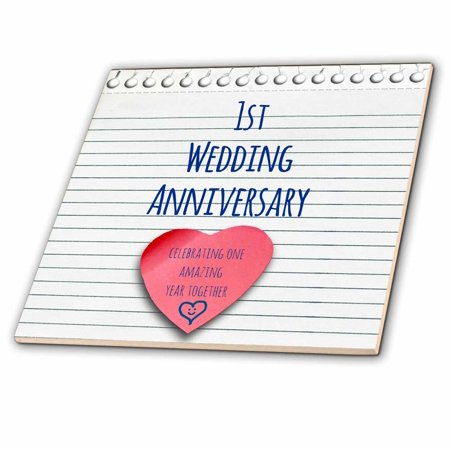 3dRose 1st Wedding Anniversary gift - Paper celebrating 1 year together - first anniversaries - one yr - Ceramic Tile,