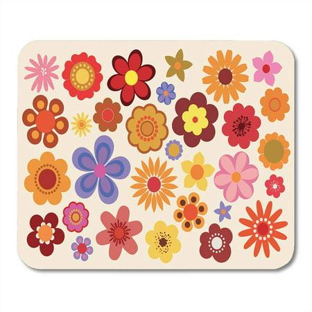 KDAGR Green Hippie Vintage Flowers 60S 70S Orange 1960 Seventies Retro Mousepad Mouse Pad Mouse Mat 9x10 inch - Hippie 1960
