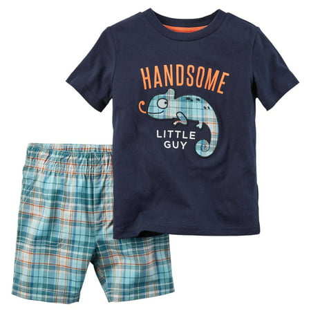 Carters Baby Girls 2-Piece Tee & Short Set Handsome Little Guy Navy