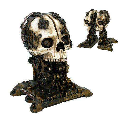 Cyborg Robotic Gearwork Facility Steampunk Skull Bookends Set Figurine Collectible Sculpture by Gifts & Decor