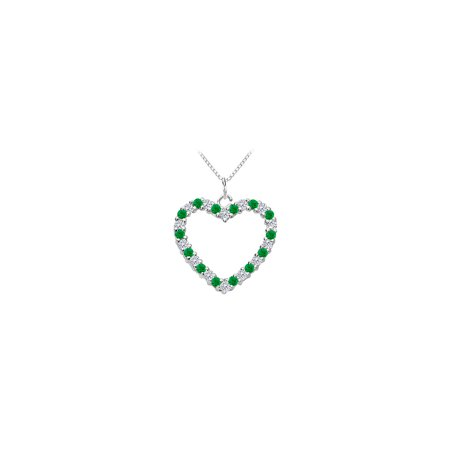 Green Created Emerald and Cubic Zirconia Heart Pendant in 925 Sterling Silver Total Gem Weight o - image 2 of 2