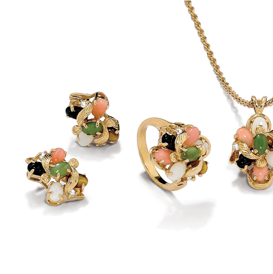Genuine Coral, Opal, Jade, Onyx, Tiger's-Eye 14k Gold-Plated Necklace, Earrings and Ring Set by PalmBeach Jewelry
