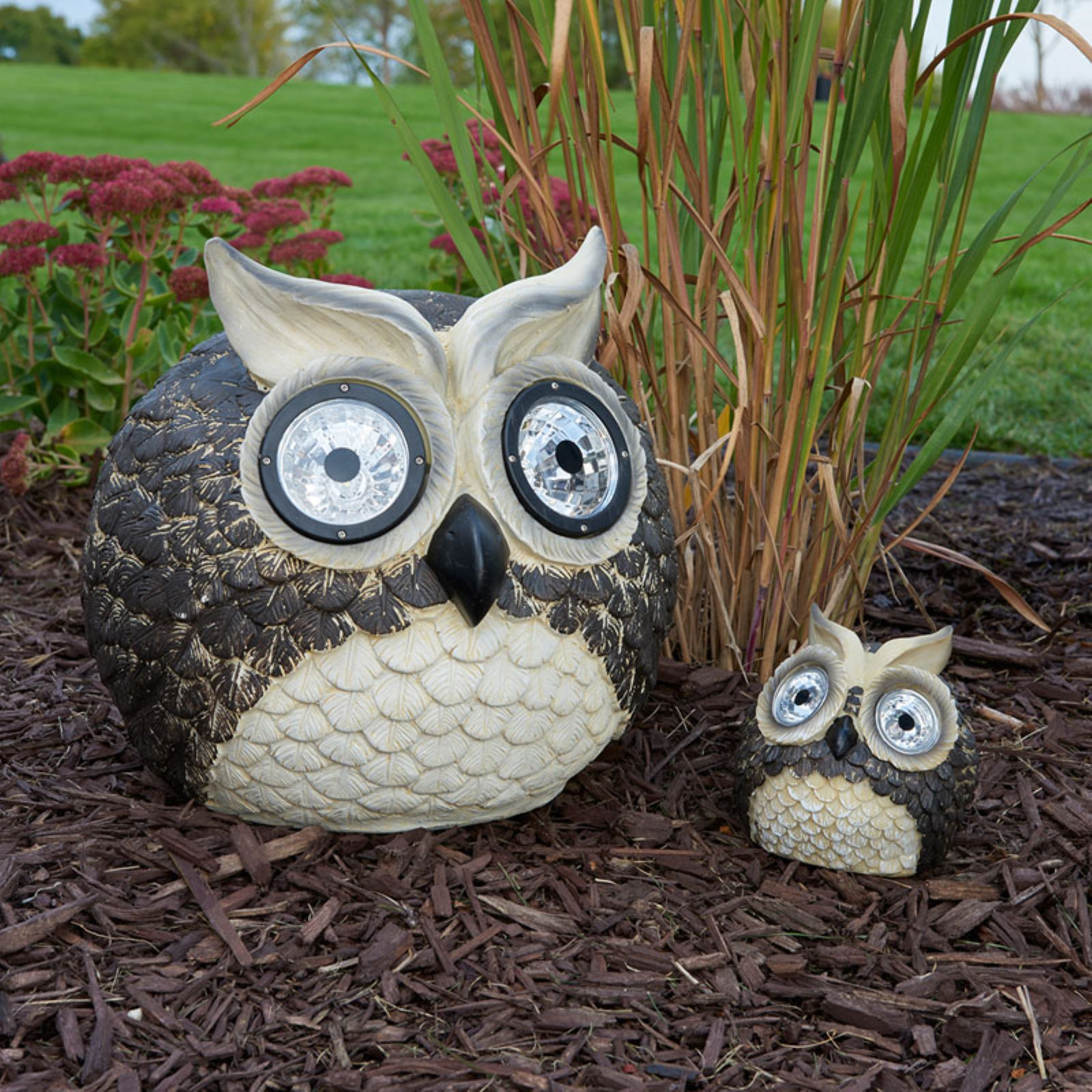 """Mother & Baby Solar Garden Pal Owl Set (Large 12"""", small 5"""" H)"""