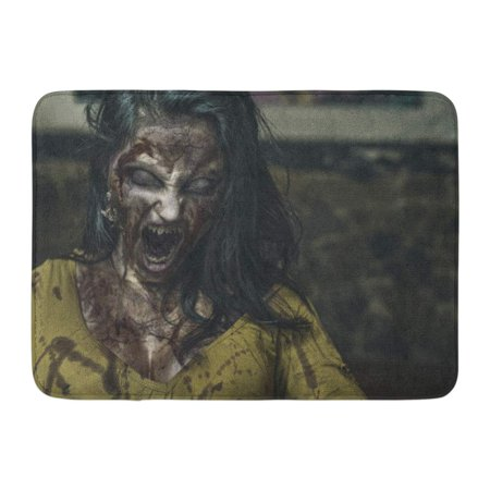 GODPOK Horror Monster Zombie Scream Ghost Scary Woman Girl Evil Rug Doormat Bath Mat 23.6x15.7 inch - Screaming Doormat