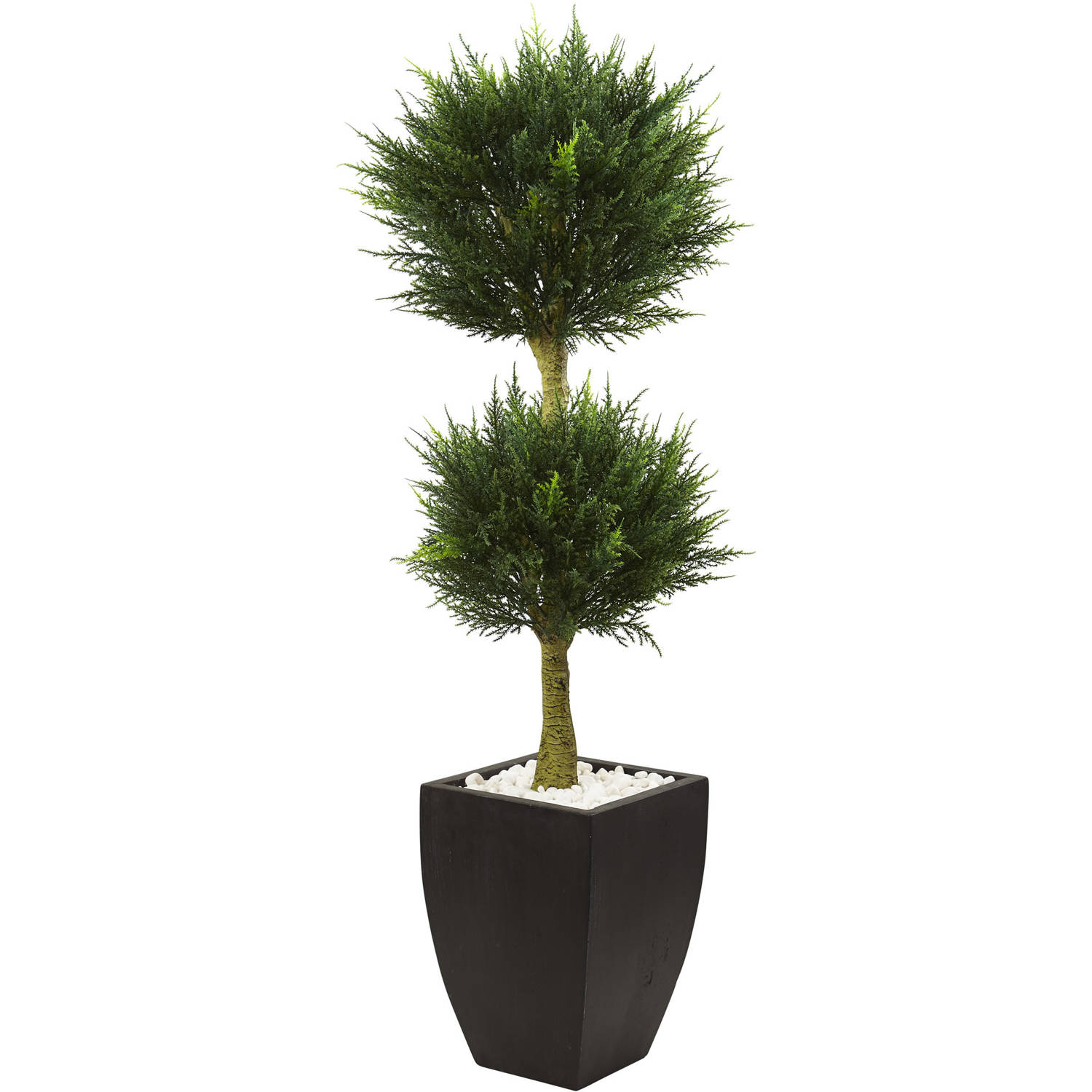 Nearly Natural 4.5 ft. Cypress Topiary with Black Planter UV Resistant (Indoor/Outdoor)