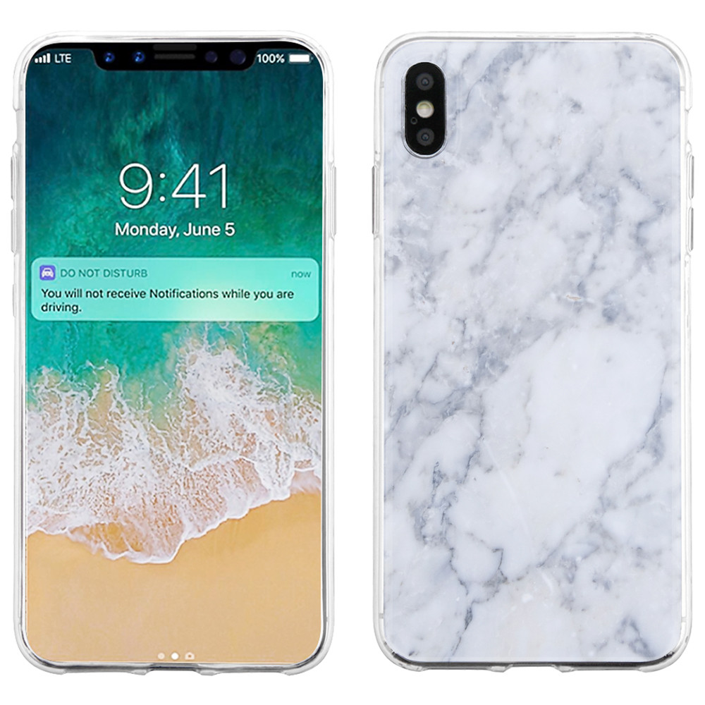 For Apple iPhone XS Max Case, OneToughShield ® Scratch-Resistant Slim-Fit TPU Protective Phone Case Cover - Marble / Clouds
