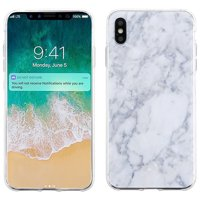 For Apple iPhone XS Max Case, OneToughShield  Scratch-Resistant Slim-Fit TPU Protective Phone Case Cover - Marble / Clouds