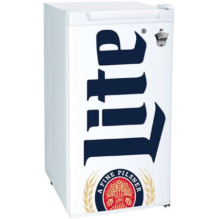 Miller Lite 3.2 Cubic foot Mini Bar, Dorm, Home Beverage Cooler Fridge Refrigerator, White