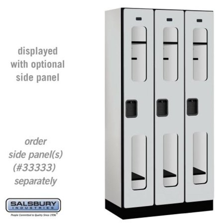 - Salsbury Industries 1-Tier See-Through Designer Wood Locker with Three Wide Storage Units, 6-Feet High by 18-Inch Deep, Gray