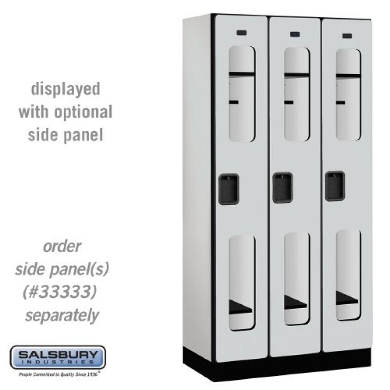 Salsbury Industries 1-Tier See-Through Designer Wood Locker with Three Wide Storage Units, 6-Feet High by 18-Inch Deep, Gray