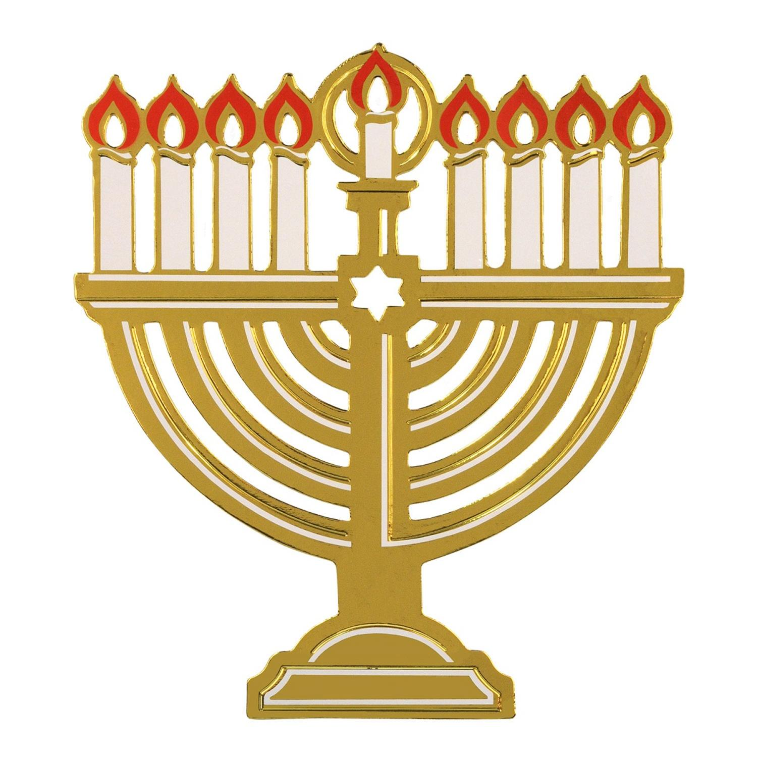 Club Pack of 24 Gold Foil Menorah Hanukkah Cutout Decorations 14.5""