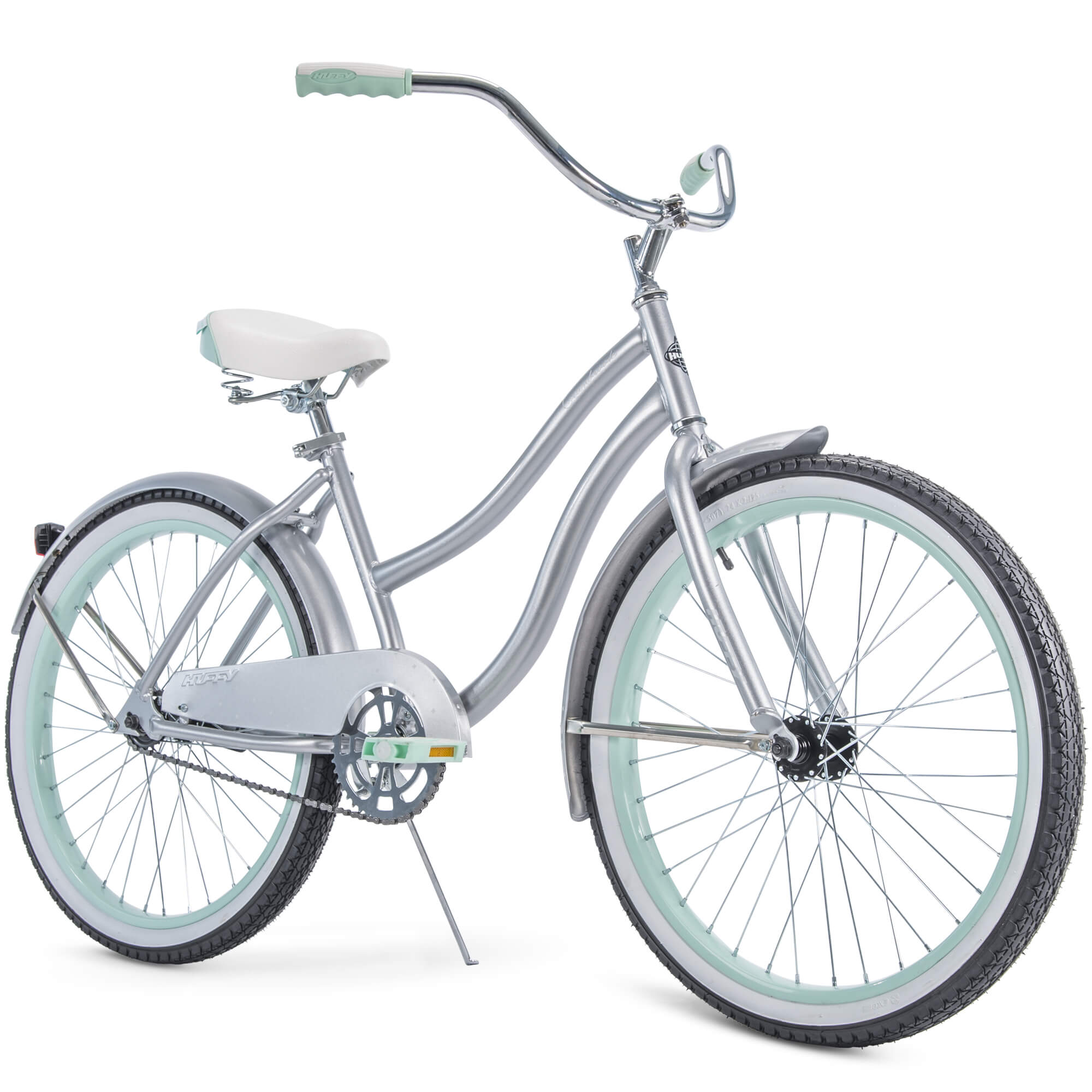 "Huffy 24"" Cranbrook Girls' Cruiser Bike with Perfect Fit Frame, Silver"