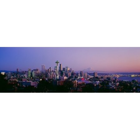 High angle view of a city at sunrise Seattle Mt Rainier King County Washington State USA 2013 Poster Print