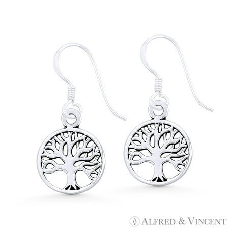 Tree-of-Life Religious Charm Dangling Hook Earrings in .925 Sterling Silver Tree Charm Earrings