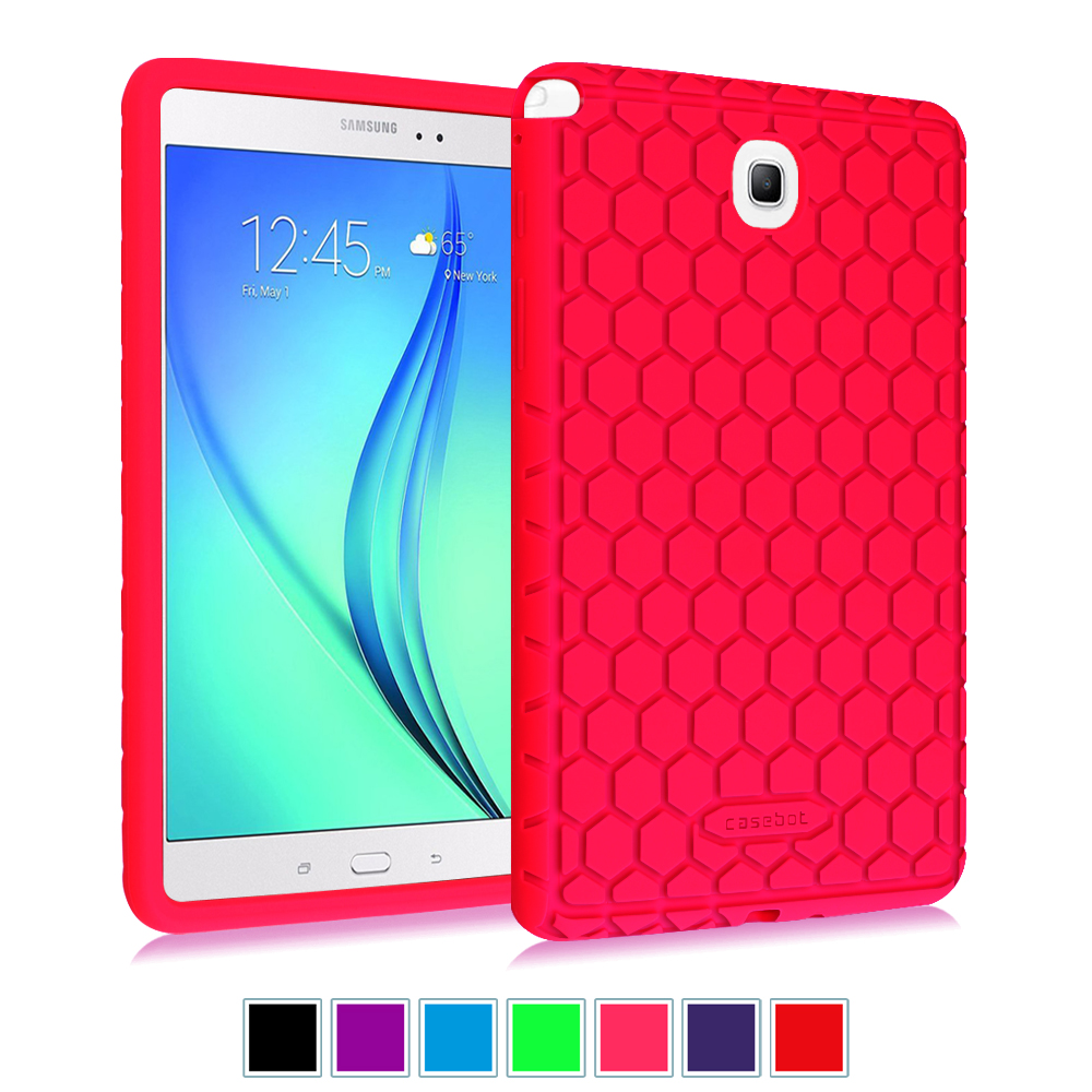 Samsung Galaxy Tab A 8.0 SM-T350 Tablet Case - Fintie [Kids Friendly] Shock Proof Silicone Cover Protective Skin,Magenta