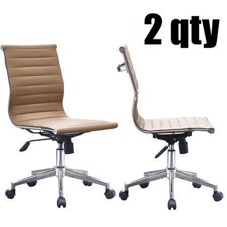 2xhome - Set of 2 Tan - Office Chair Ribbed Modern Ergonomic Mid Back Armless No Arms PU Leather Eames Office Chairs Task Swivel Tilt Arms Conference Room Chairs Eco Leather Conference Chair