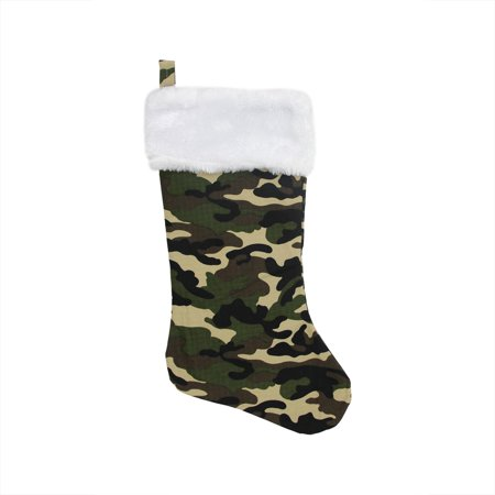 "19"" Brown Green & Black Army Camouflage Christmas Stocking with White Faux Fur Cuff"