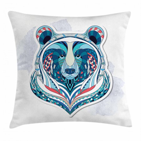 Bear Throw Pillow Cushion Cover, Ornamental Bear Face with African Tribal Totem Tattoo Style Vibrant Figures Pattern, Decorative Square Accent Pillow Case, 18 X 18 Inches, Multicolor, by Ambesonne - Tribal Totem
