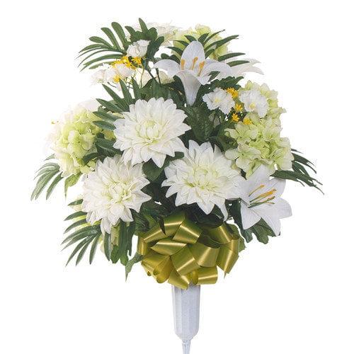Teters Memorial Signature Round Mixed Dahlia Floral Vase Arrangement
