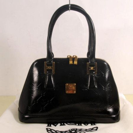 Embossed Bowler 868492 Black Patent Leather Satchel