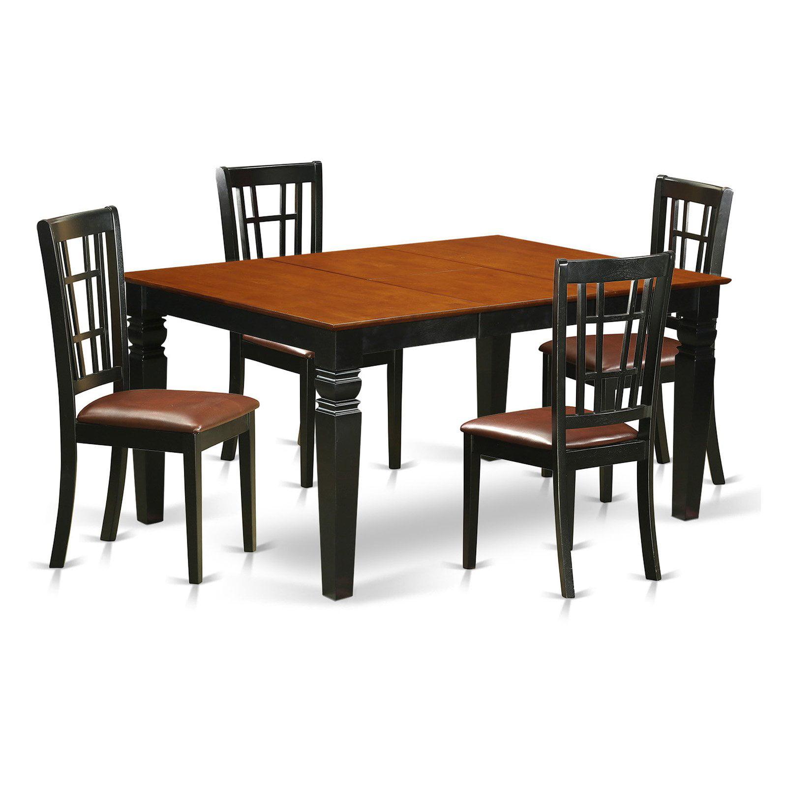 East West Furniture Weston 5 Piece Windowpane Dining Table Set