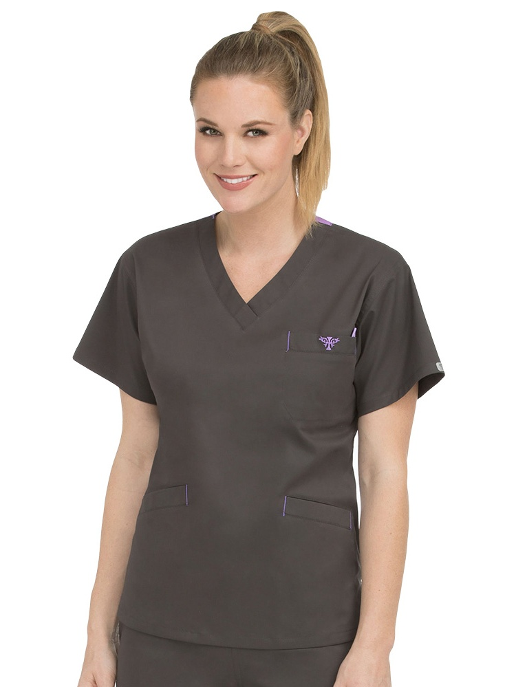 Med Couture Women's Signature V-Neck Solid Scrub Top