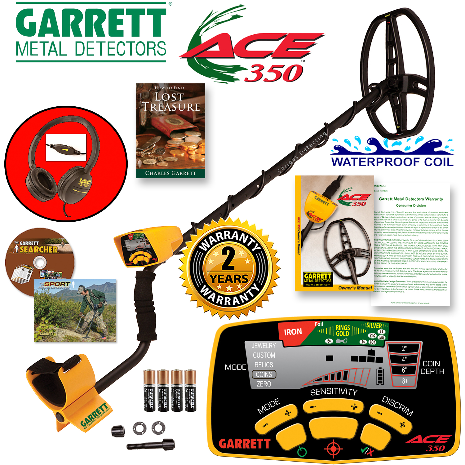 Garrett ACE 350 Detector Bundle w/ Headphone and Lost Tre...