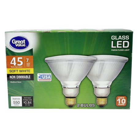 Great Value PAR38 LED Flood Light Bulbs 7W (45W)