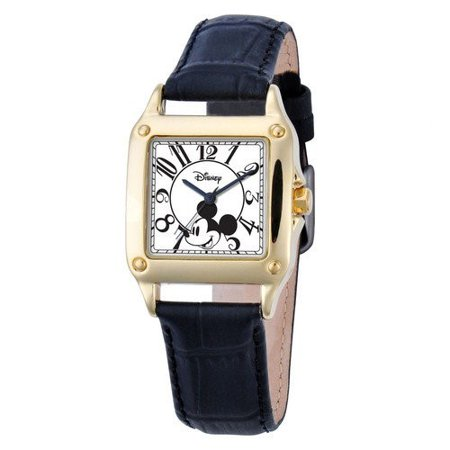 Mickey Mouse Women's Silver Alloy Square Watch, Black Leather Strap Black Leather Square Watch
